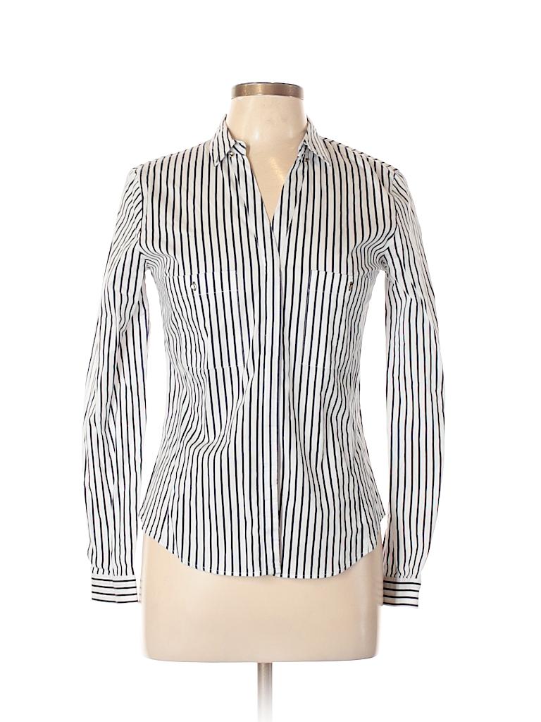 577db2454a206 Zara Basic Stripes White Long Sleeve Button-Down Shirt Size L - 63 ...