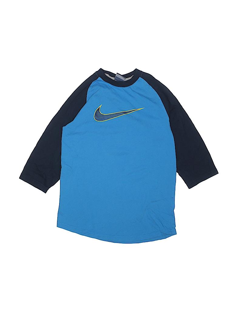 Nike 100 Cotton Color Block Blue Long Sleeve T Shirt Size