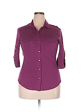 Sandra Ingrish 3/4 Sleeve Button-Down Shirt Size XL
