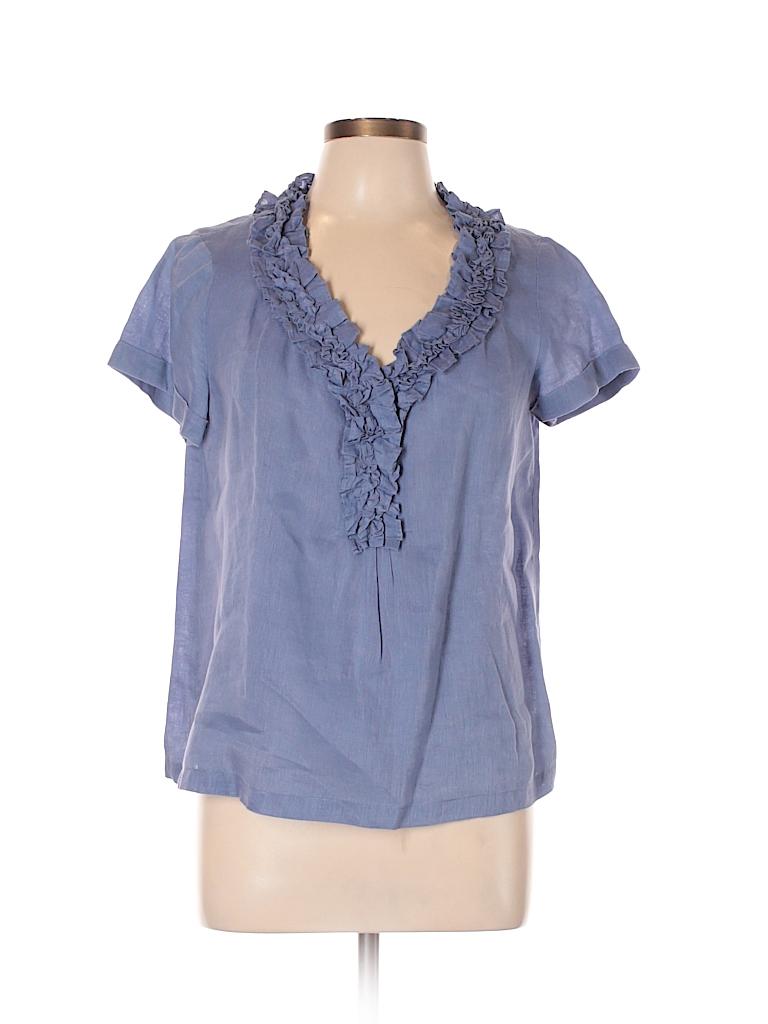 31bde00b914 Talbots 100% Linen Solid Dark Blue Short Sleeve Blouse Size 10 ...