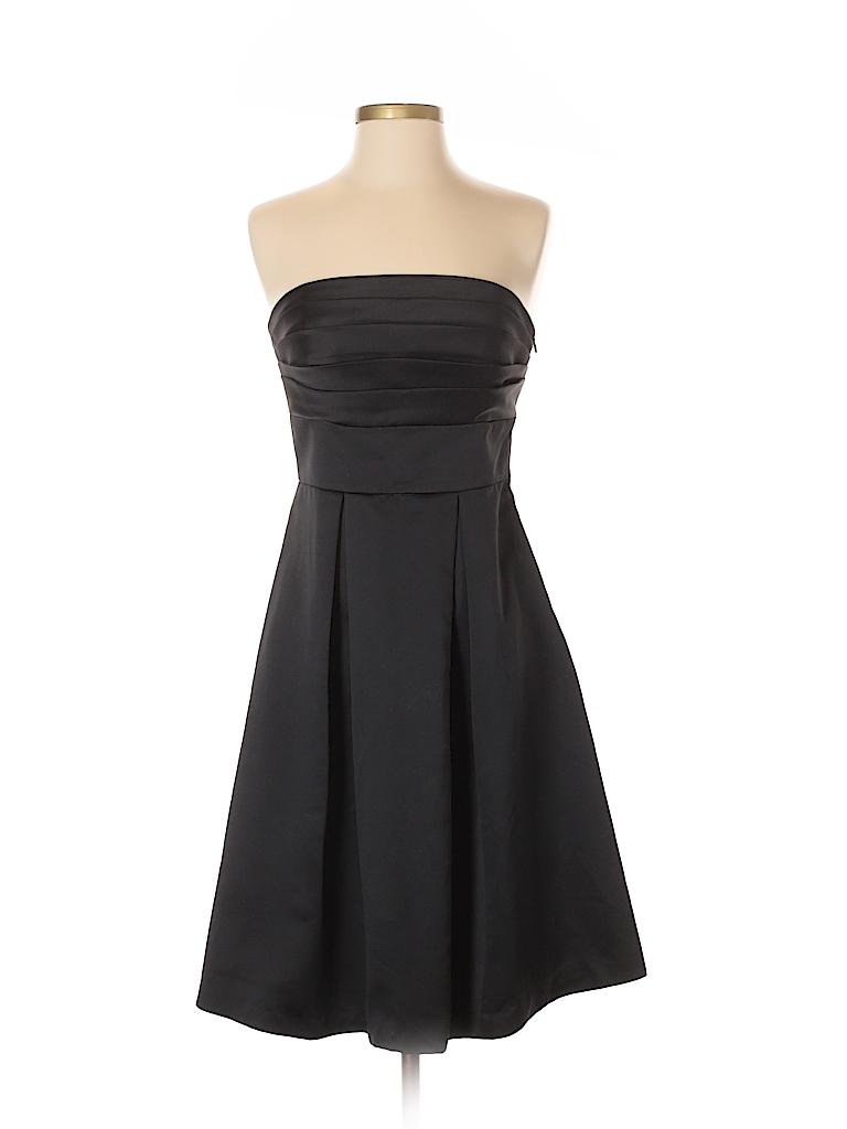 910da39cea White House Black Market 100% Polyester Solid Black Casual Dress ...