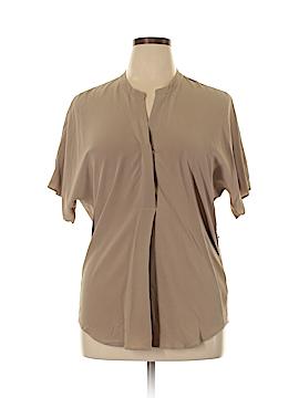 Ecru Short Sleeve Silk Top Size L