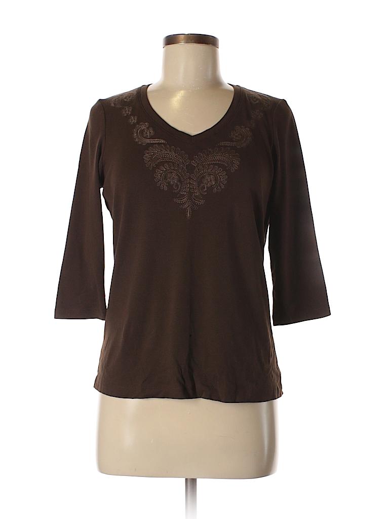 St john 39 s bay 100 cotton print brown 3 4 sleeve t shirt for South bay t shirt printing