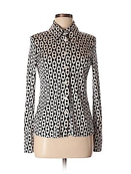 Pink Tartan Long Sleeve Silk Top Size M