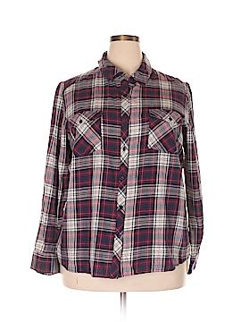 Joe Boxer Long Sleeve Button-Down Shirt Size 1X (Plus)