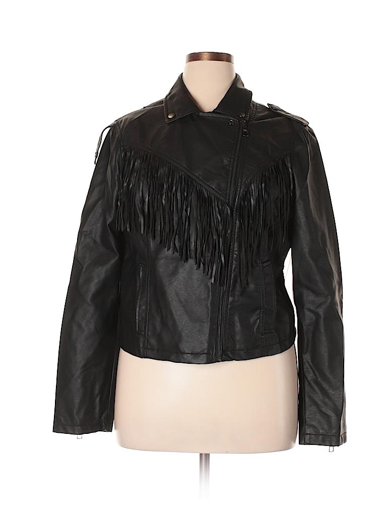 3c2d3a5bf6b02 Joe Boxer 100% Polyurethane Solid Black Faux Leather Jacket Size XL ...