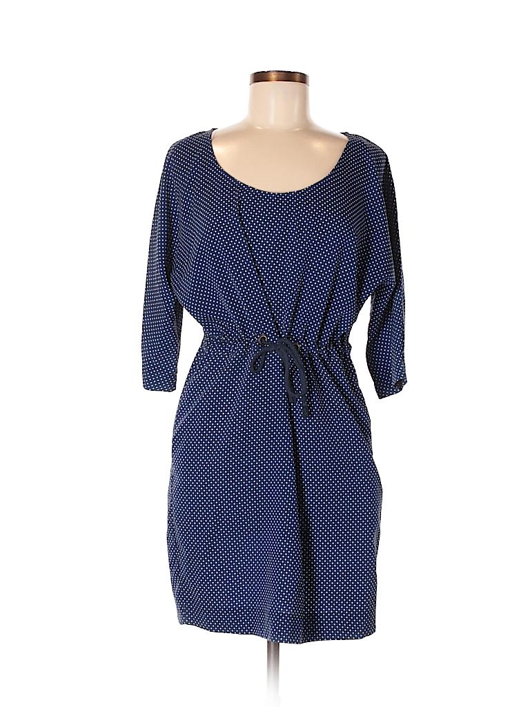 5d5b0cb8 Zara Basic 100% Polyester Polka Dots Navy Blue Casual Dress Size M ...