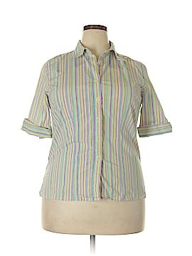 Harve Benard by Benard Haltzman 3/4 Sleeve Button-Down Shirt Size 1X (Plus)