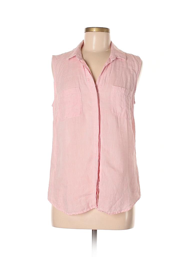 c37560053d Saks Fifth Avenue 100% Linen Solid Light Pink Sleeveless Blouse Size ...