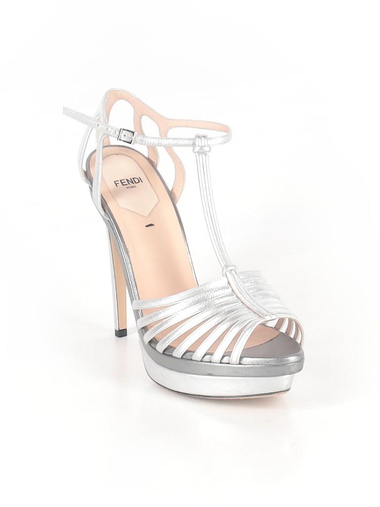 Fendi Solid Silver Heels Size 40 (EU