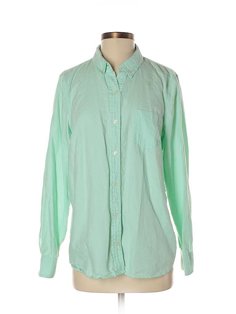 750755fbd9d226 Gap Outlet 100% Cotton Solid Green Long Sleeve Button-Down Shirt ...