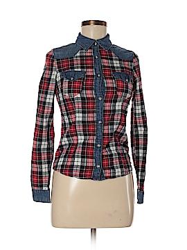 ChiQle Denim Architect Long Sleeve Button-Down Shirt Size S